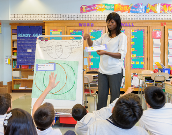 Adelphi education alumnae teaching children in classroom